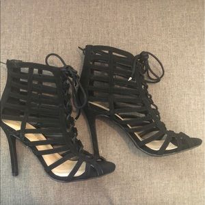 Shoes - 2 for $40 Black Lace Up Cage High Heels